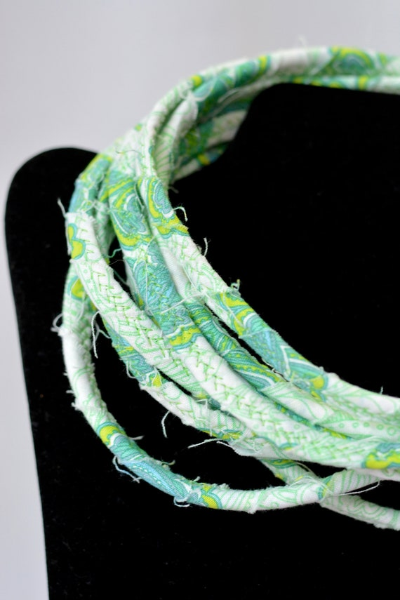 Green Rope Necklace, Summer Infinity Necklace, Handmade Wrap Fiber Jewelry, Turquoise Skinny Multi Strand Necklace