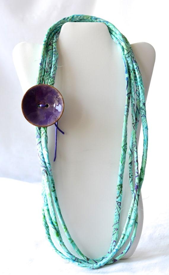 Aqua Batik Necklace, Boho Art Jewelry, Turquoise Fashion Necklace, Infinity Fabric Necklace, Handmade Trendy Skinny Necklace