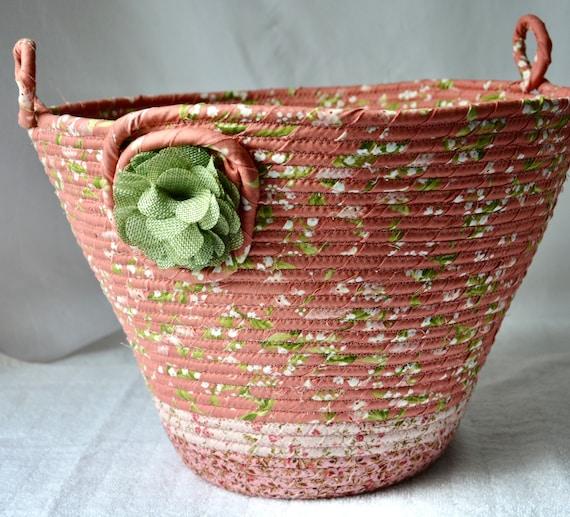 Waste Paper Basket, Handmade Mauve Floral Handled Basket, Receptacle Trash Bin, Plant Holder, Pink Fabric Basket, Pretty Office Decor