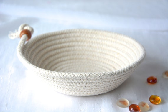 Country Potpourri Bowl, Handmade Rope Basket, Cute Clothesline Basket, Primitive Ring Dish, Desk Accessory, Simply Charming