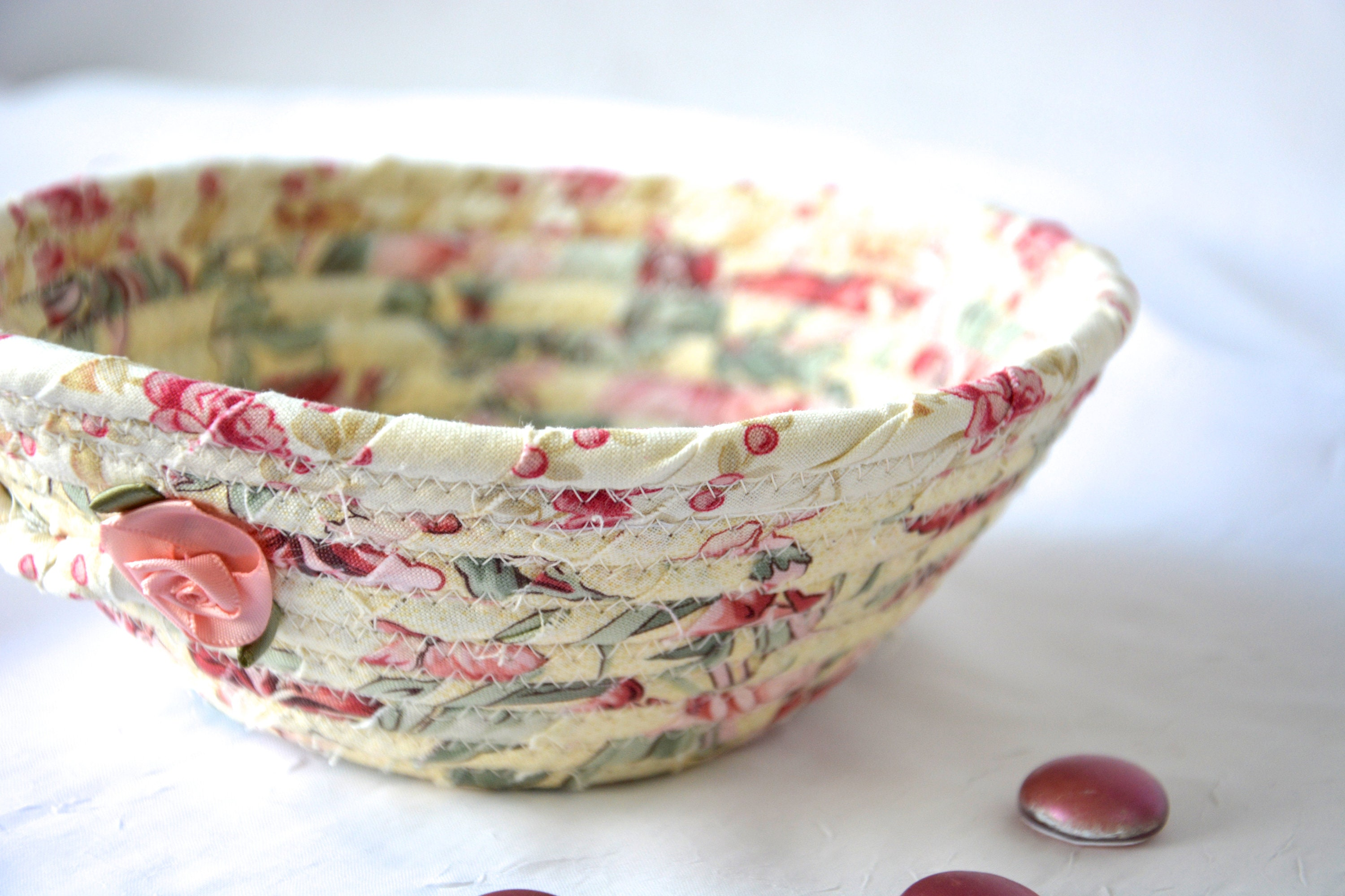 Shabby Chic Basket Handmade Pink Bowl Cute Desk Accessory English Garden Ring Dish Dresser Key Tray Potpourri Bowl,Where To Find Houses For Rent