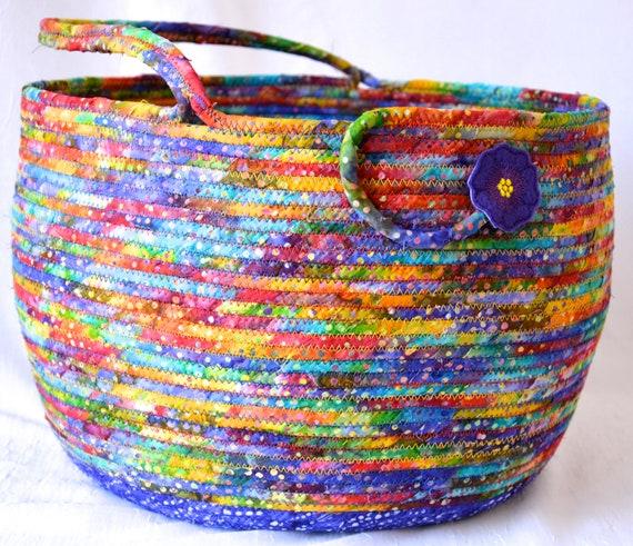 Bolga Style Basket, Purple Home Decor, Handmade Coiled Rope Basket, Lovely Storage Organizer, Textile Art Basket, Knitting Project Bag
