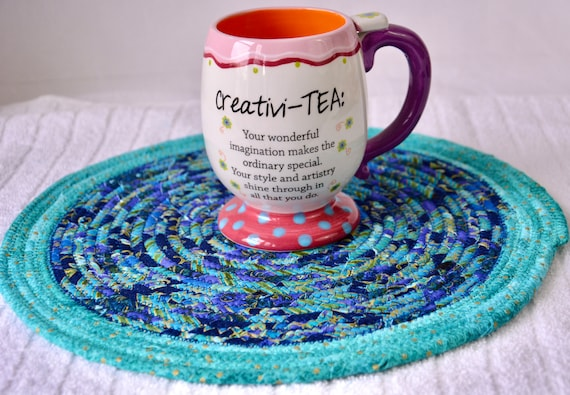 """Blue Place Mat, 1 Handmade Azure Trivet, 12"""" Quilted Hot pad, Pretty Blue Table Topper,  Table Runner, Coiled Potholder"""