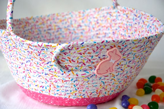 Easter Basket, Baby Girl Easter Bucket, Easter Egg Hunt Bag, Pretty Spring Decoration, Handmade Pink Basket, Free Name Tag