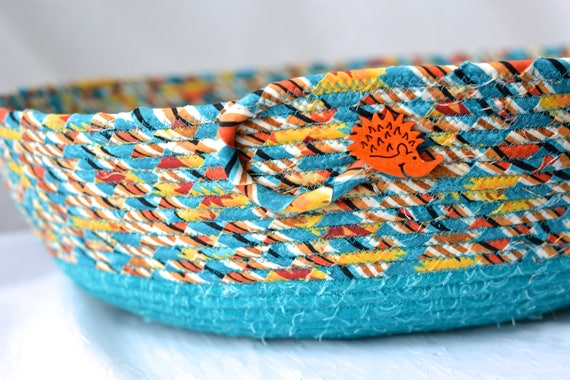 Turquoise Magazine Rack, Country Cat Bed, Hand Coiled Green Fabric Basket, Dog Bed, Southwestern Storage Organizer Toy Bin Shoe Rack