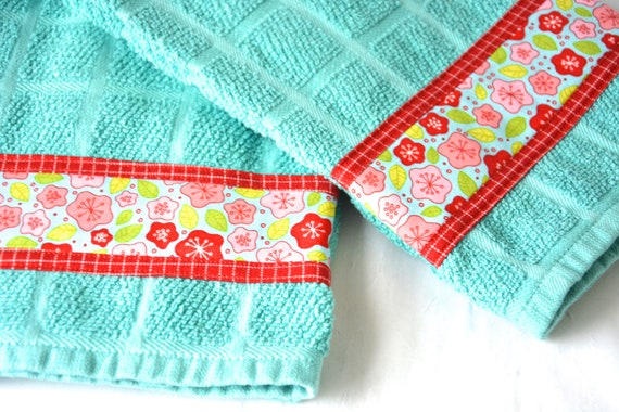 Aqua Hand Towel, Aquamarine Home Decor, 2 Hand Decorated Kitchen Towels, Set of Two Cotton Turquoise Tea Towels, Aqua Dish Cloths