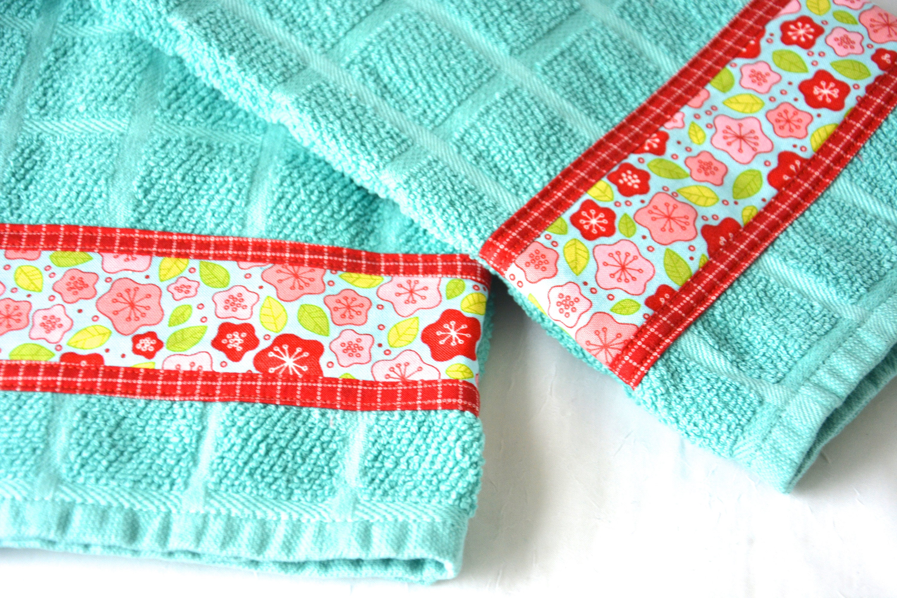 Turquoise Hand Towel, Red Home Decor, 2 Hand Decorated ...