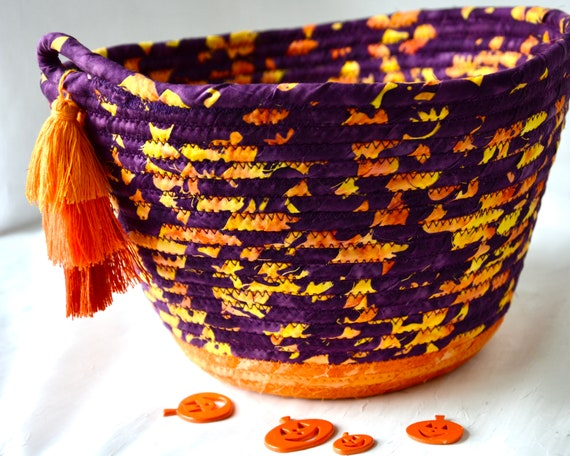 Purple Batik Basket, Handmade Fruit Bowl, Fall Orange Decoration, Bread Basket, Unique Napkin Holder, Gorgeous Batik Fiber Bowl