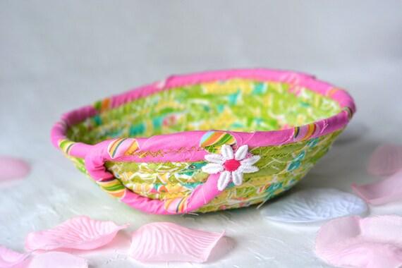 Cute Fabric Basket, Handmade Ring Dish Holder, Artisan Quilted Basket, Hand Coiled Fiber Basket, Bling Bowl, Dresser Tray