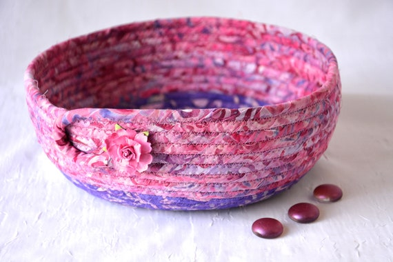 Textile Art Bowl, Handmade Batik Basket, Decorative Rope Basket, Lovely Gift Basket, Mauve Catchall, Yarn Bowl, Napkin Holder, Bread Basket
