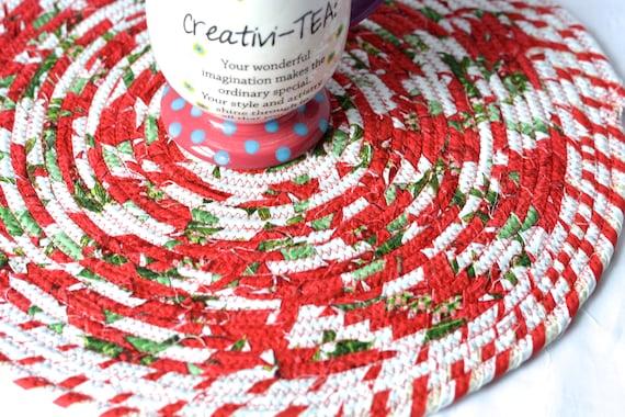"""Lovely Red Christmas Trivet, 1 Handmade Place Mat, 14"""" Quilted Potholder, Table Topper, Christmas Holiday Table Runner, Trivet"""