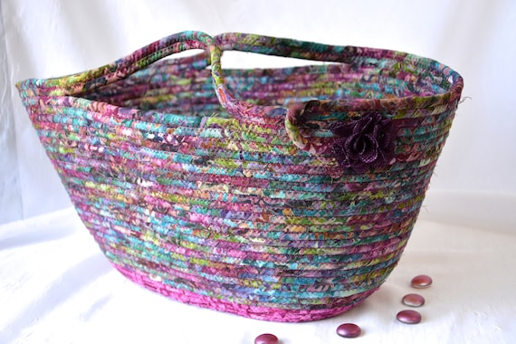 Fall Tote Bag, Handmade Cranberry Basket, Autumn Batik Fiber Basket, Laptop Purse Case, Unique  OOAK, Handbag Gift Basket