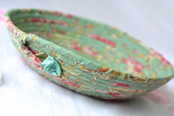 Sage Green Bowl, Handmade Dresser Catchalll, Shabby Chic Ring Dish Basket, English Garden Desk Accessory, Floral Gift Basket