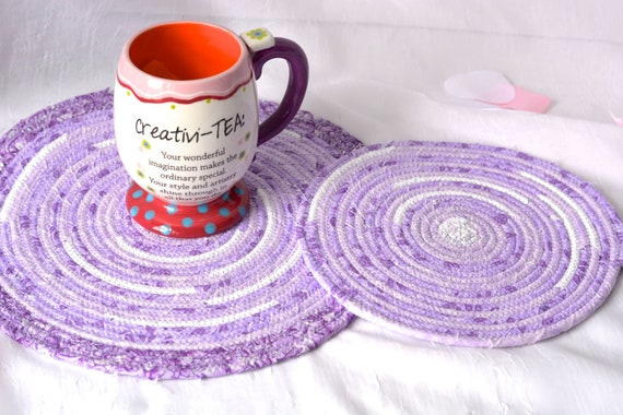 Violet Floral Trivets, 2 Handmade Purple Fabric Hot Pads, Lavender Mug Rugs, Lovely Lilac Table Toppers, Purple Potholders
