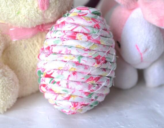 Easter Egg, Shabby Chic Egg Home Decor,  Handmade Pink Rose Easter Egg, Bowl Filler Stuffer, Easter Decoration, Hand Coiled Fiber Easter Egg