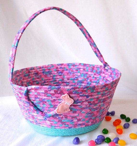 Pink Easter Basket, Handmade Easter Bucket, Girl Easter Bucket, Spring Decoration, Easter Egg Hunt Tote Bag, Free Name Tag