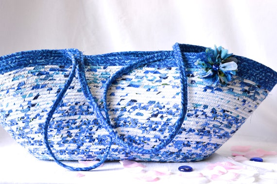 Blue Tote Bag, Handmade Blue and White Beauty Handbag, Unique Yoga Mat Basket, Handles, Coiled Clothesline Tote Bag, Beach Picnic Bag