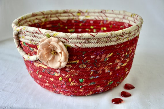 Remote Control Basket, Lovely Red Floral Bowl, Country Quilted Bowl, Handmade Maroon Home Decor, Key Holder Bin