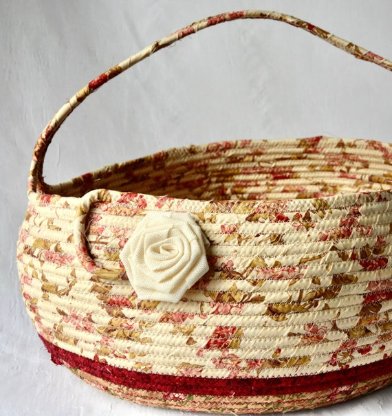Beige Bolga Basket, Yarn Storage Bag, Handmade Textile Art Basket, Designer Basket with handle, Shabby Chic Fabric Bin, Garden Party
