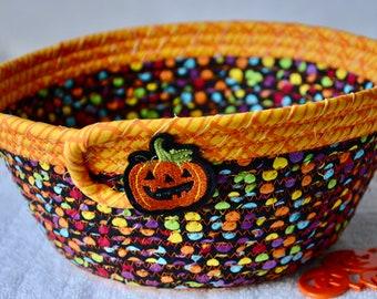 Halloween Candy Bowl, Decorative Fall Basket, Handmade Black and Orange Napkin Holder, Hand Coiled Fabric Basket, Fruit Bowl
