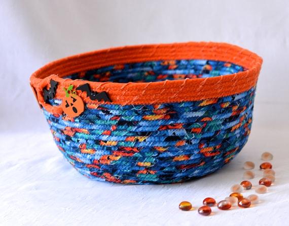 Halloween Quilted Basket, Handmade Blue and Orange Bowl, Lego Toy Organizer Bucket, Storage Basket, Bin, Container