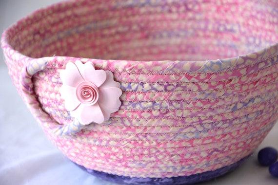 Pink Batik Basket, Lovely Fruit Bowl, Handmade Napkin Basket, Decorative Coiled Art Bowl, Key Holder, Potpourri Basket, Bath Home Decor