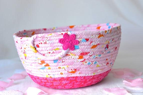 Pretty Pink Basket, Handmade Decorative Bowl, Pink Floral Bath Basket, Makeup Organizer, Girls Room Decor, Pink coiled fabric basket