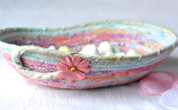 Batik Candy Dish, Potpourri Basket, Handmade Aqua Coiled Bowl, Handmade Key Basket, Eyeglasses Dresser Tray, Pen Holder