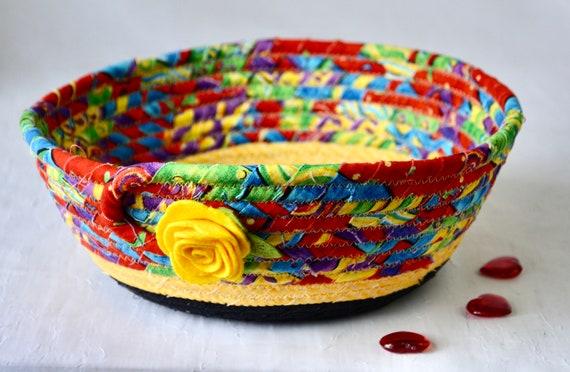 Fun Fruit Bowl, Napkin Basket, Handmade Quilted Basket, Black and Yellow Picnic Basket, Key Holder, Dog Toy Holder