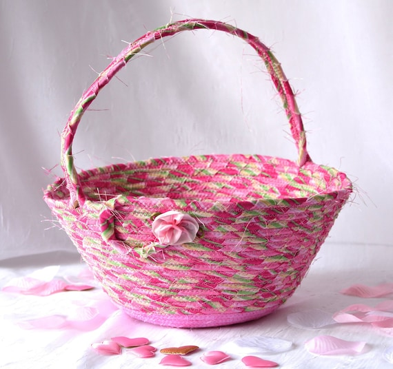 Pink Flower Girl Basket, Handmade Sateen Magenta Basket, Handled Wedding Card Basket, Elegant Bathroom Decoration, Pretty Sateen Fabric