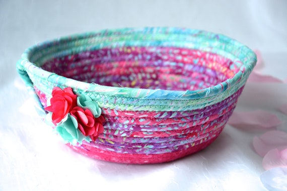 Pink Aqua Bowl, Handmade Batik Fabric Basket, Decorative Coiled Basket, Quilted Gift Basket, Batik Catchall, Yarn Bowl, Napkin Holder