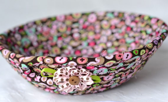 Girl Fairy Bowl, Ring Dish Basket, Handmade Pink Bowl, Glitter Candy Dish, Cute Desk Accessory Basket, Artisan Coiled Fabric Basket