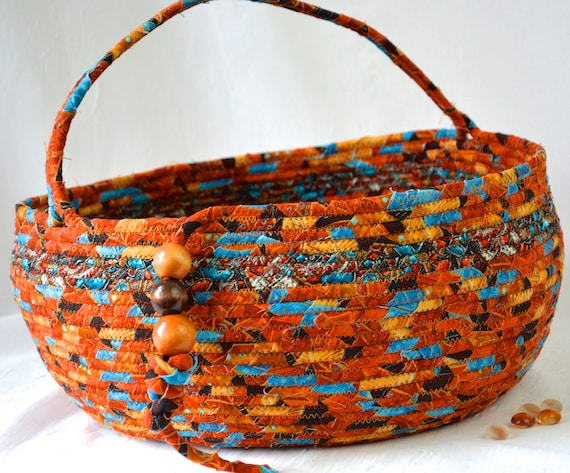 Country Bolga Basket Turquoise Accent, Handmade Textile Art Basket, Southwestern Rope Basket with handle, Farmhouse Chic Fabric Bin