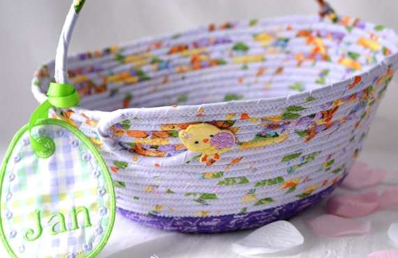 Girl Easter Basket and bunny, Handmade Lavender Easter Decoration, Easter Egg Hunt Bag, Artisan Purple Easter Bucket