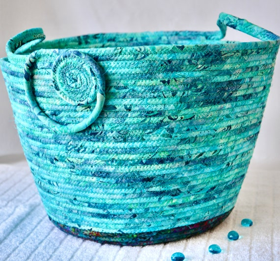 Turquoise Paper Recycle Bin, Handmade Batik Basket, Yarn Holder, Office Waste Basket, Blanket Bin, Scarf Holder, Sweater Bin