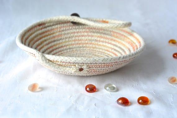 Primitive Desk Accessory Bowl, Handmade Gift Basket, Rustic Eyeglass Tray, Minimalist Decoration, natural rope basket, clothesline bowl