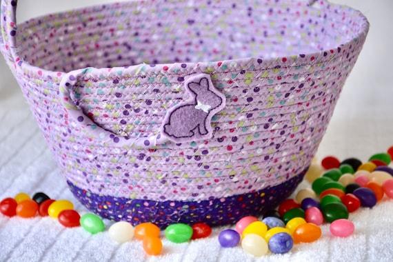 Purple Easter Basket, Cute Lavender Easter Bucket, Easter Egg Hunt Tote Bag, Fun Dot Basket, Handmade Baby First Basket, Spring  Decor