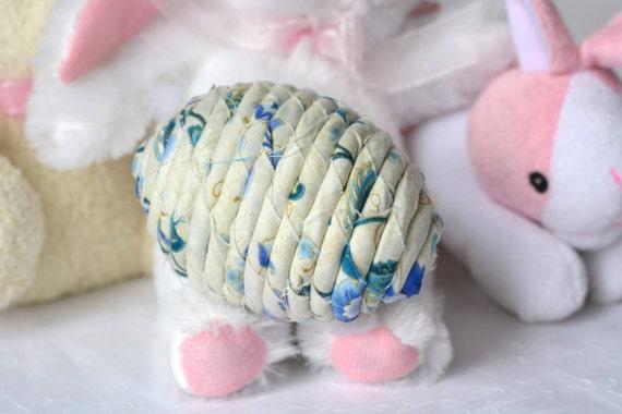 Blue Easter Egg Ornament, Handmade Beige Easter Egg Decoration, Spring Home Decor, Hand Coiled Fiber Easter Egg, Blue China Easter Egg