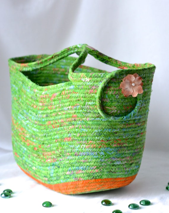 Summer Beach Bag, Green Tote, Gorgeous Batik Rope Basket, Picnic Basket, Handmade Quilted Magazine or Shoe Rack, Shower Gift Basket