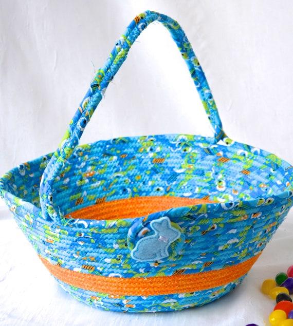 Easter Basket, Boy Easter Bucket, Handmade Baby Easter Basket, Blue Easter Egg Hunt Bag, Cute Spring Decoration, Home Decor, Free Name Tag