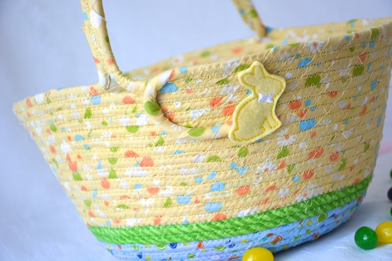 Yellow Easter Basket, Handmade Yellow Easter Bucket, Easter Egg Hunt Bag, Spring Decoration, Cute Toy Storage Bin, Crayon Holder