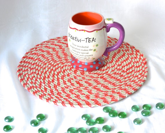 """Holiday Table Topper, Trivet, Christmas Candy Cane Place Mat, Handmade Hot Pad,  12"""" Trivet, Table Mat, Lovely Christmas Decoration"""