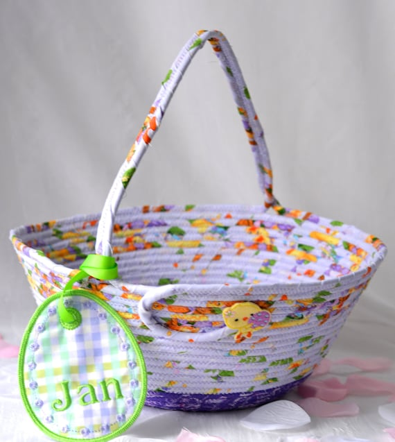 Girl Easter Basket and bunny, Handmade Lavender Easter Decoration, Easter Egg Hunt Bag, Whimsical Purple Easter Bucket