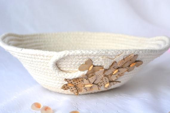 Rustic Desk Accessory Bowl, Handmade Natural Cotton Basket, Primitive Clothesline Basket, Minimalist Ring Dish, Hand Coiled