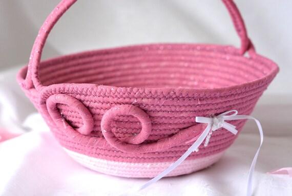 Flower Girl Basket, Handmade Pink Wedding Basket, Artisan Quilted Fabric Basket, Bridal Shower Gift, Coiled Gift Basket,