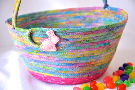 Beautiful Easter Bucket, Pink Batik Basket, Handmade Easter Basket, Gorgeous Fiber Art Basket, Girl Easter Bucket, Pink Spring Decor