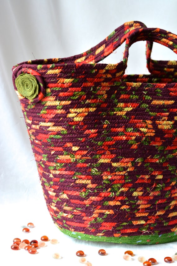 Fall Quilted Basket, Red Maroon Tote Bag, Handmade Storage Basket, Lovely Picnic Basket, Coiled Rope Fabric Basket, Laptop Holder