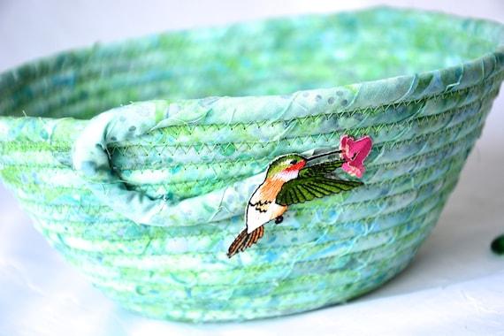 Hummingbird Batik Basket, Handmade Fabric Bowl, Country Candy Dish, Desk Bowl, Quilted Bowl, Coiled Change Bowl, Firsherman Gift