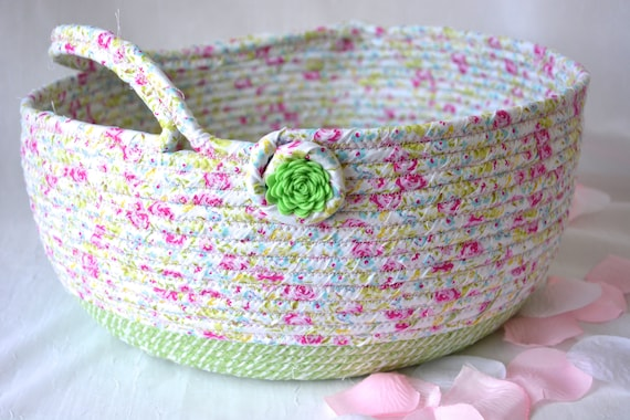 Pink Round Basket, Handmade Shabby Chic Baslet, Beautiful Floral Bowl, Pink and Sweet Green Home Decor, Designer Basket with handle