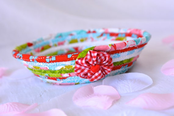Red Aqua Decoration, Handmade Ring Dish Holder, Pretty Red and Aqua Basket, Lovely Turquoise Key Tray, Cute Candy Dish Bowl